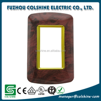 Wholesale wooden color with golden frame wall switch plate for egypt and middle east