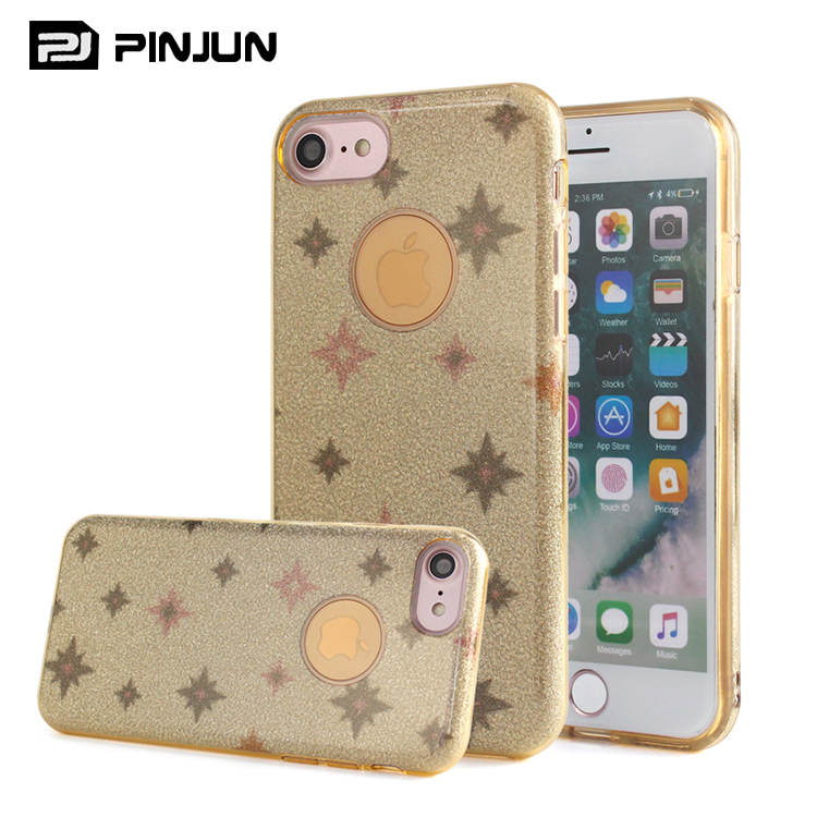 Fashion to for iphone 7 women case,tpu + pc + glitter paper for iphone 7 ip7 case 3 in 1 stylish slim hard case