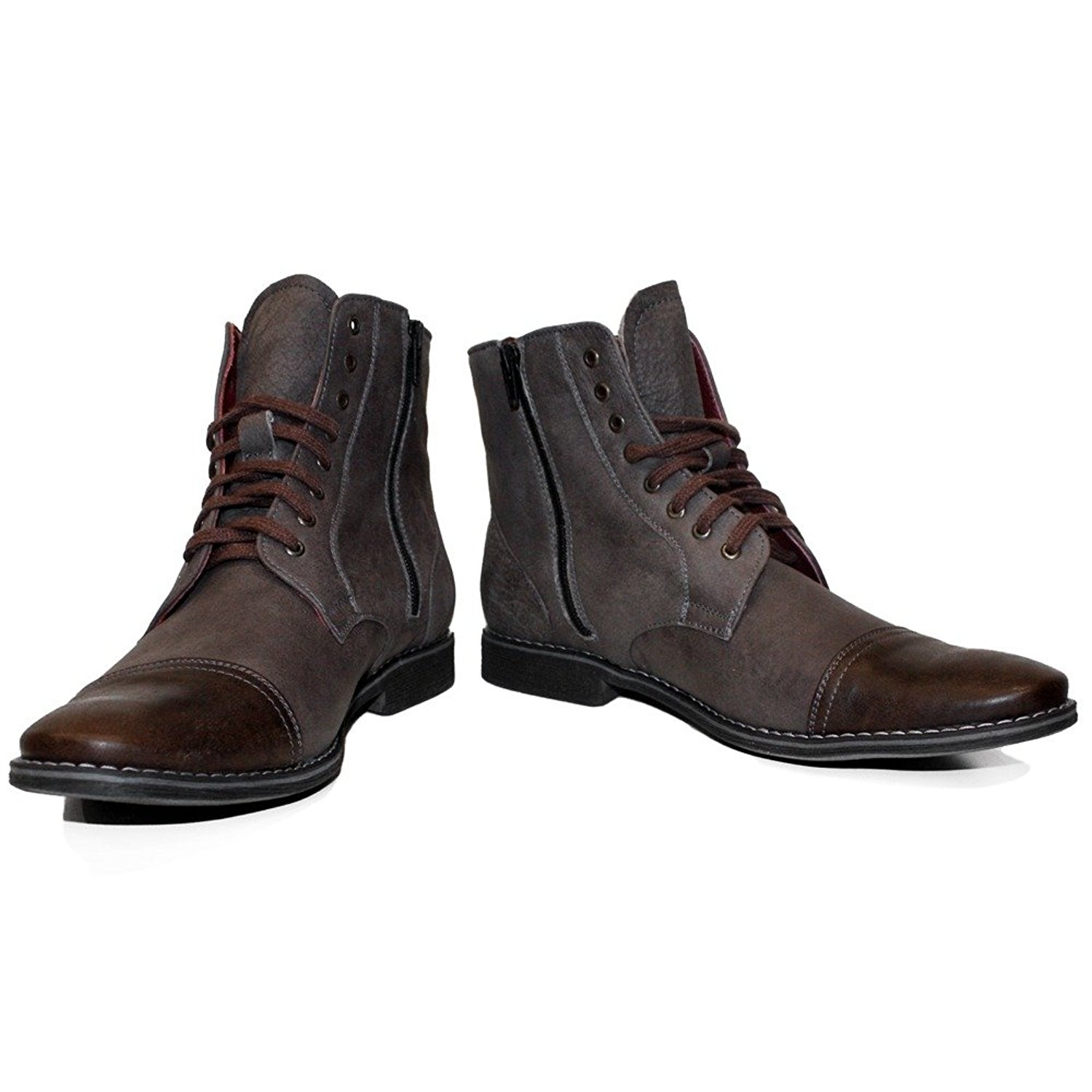 PeppeShoes Modello Muccato - Handmade Italian Mens Brown Ankle Boots - Cowhide Smooth Leather - Lace-up