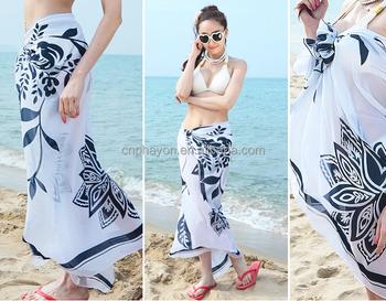 eae7876ca4fe6 Womens Chiffon Printed Bikini Cover Up Pareo Sarong dress Swimwear Wrap  Beach Scarf