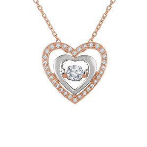 b059e54fe57a5 925 Sterling Silver Crystals Heart Pendant Necklace Jewelry for Valentine's  Day Gift of Love