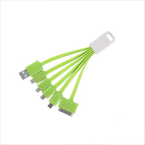 OEM ODM Fast charging customized pvc round shape usb cable universal multi-function 5 in 1 multi  charger cable