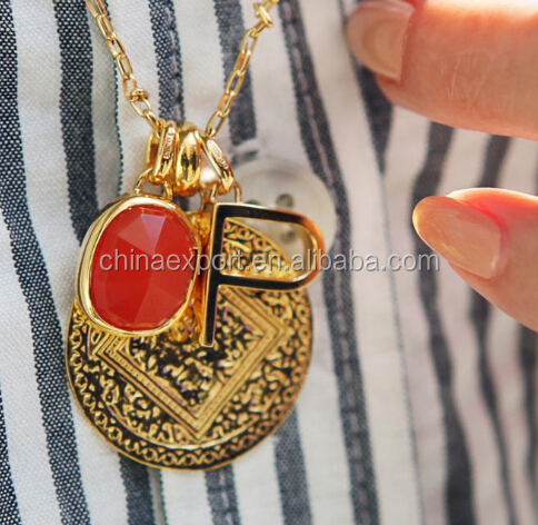Dubai gold jewelry stainless steel round zircon necklace pendants for charm necklace
