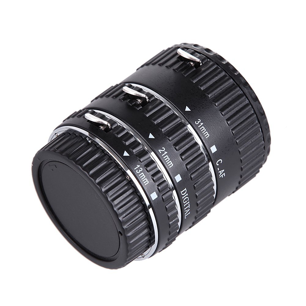 First2savvv XJPJ-CCW-08 red Auto Focus Macro Extension Tube Set for Canon EOS DSLR SLR Lens Cleaning cloth Extreme Close-Ups for Canon EOS 5D III 1D II 1D III 30D 40D