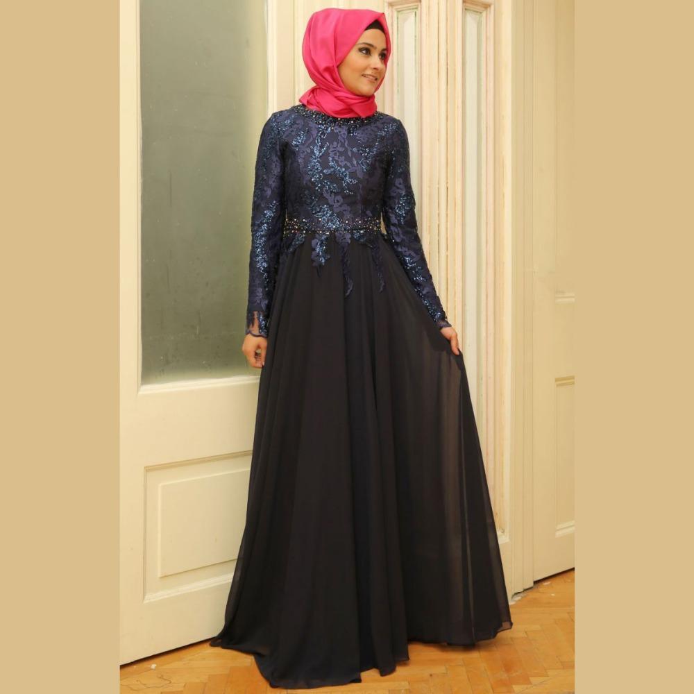 Elegant Long Sleeve Wedding Dresses Muslim Dress 2015: Charming-Elegant-Long-Sleeve-Black-and-Blue-Chiffon-Lace