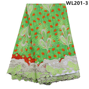 WL201-3 African wax embroidery with cord lace super wax hollandais printed fabric