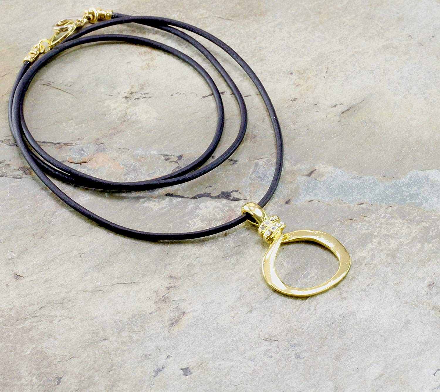 Organic Gold Eyeglass Holder Necklace with Loop and Leather Cord