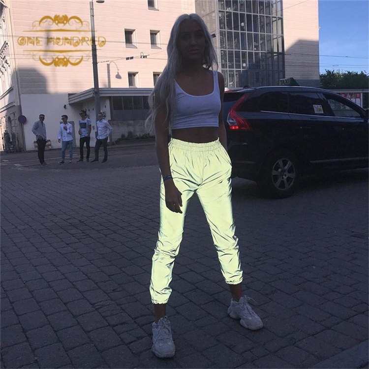Free Shipping for Droshipping 2019 reflective cargo pants pants reflective reflective jogger pants for men/women