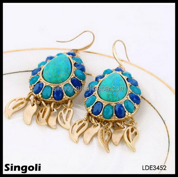 Turquoise stud gem earrings resin diamond drop earrings tibetan jewellery wholesale