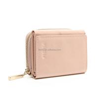 CW960-001- wholesale Genuine leather wallets women foldable money clip purse