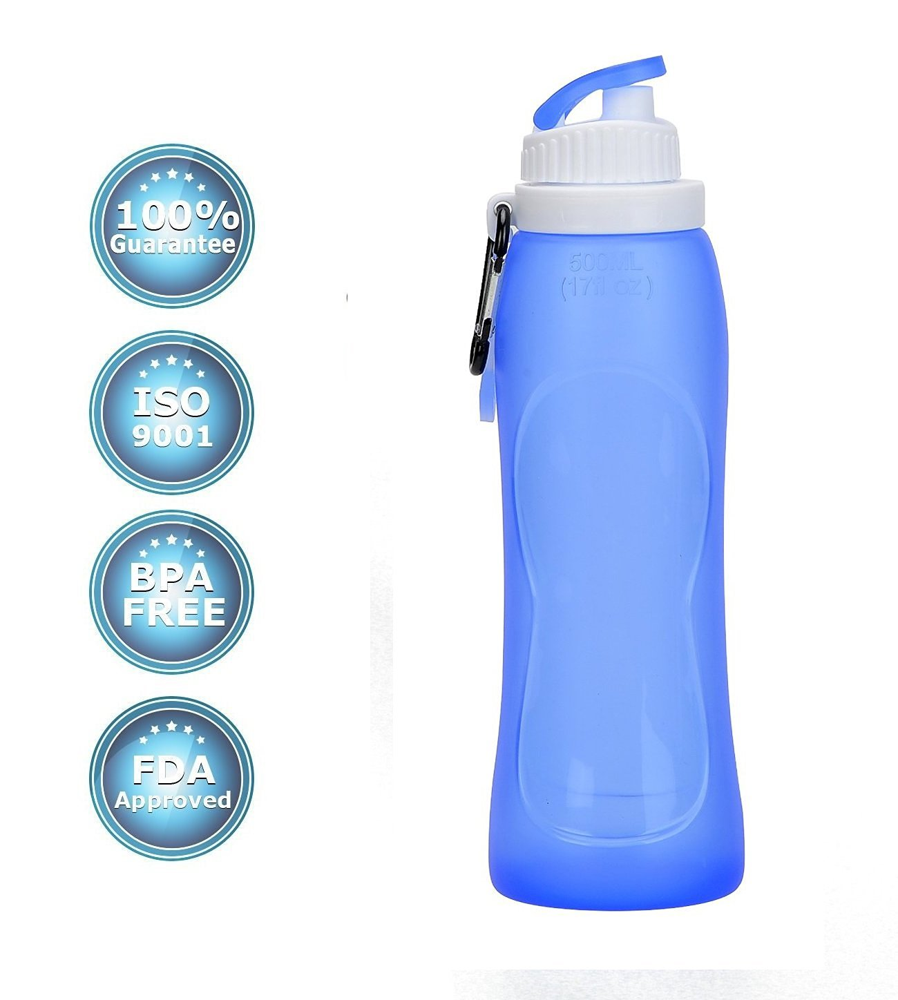 Spider-BX Portable Silicon Collapsible Water Bottle,BPA Free, (TM) Foldable Filter Sports Hydrated Cup -For Cycling,Camping,Hiking,Travel,Durable,Reusable with Leak-proof Lid-17 Oz,