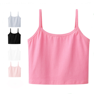 ladies sleeveless tops elastic women's yoga tank tops 90% cotton 10% lycra wholesale bulk crop top plain
