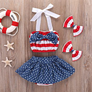 RTS in stock 4th july patriotic girls clothes set kids clothing