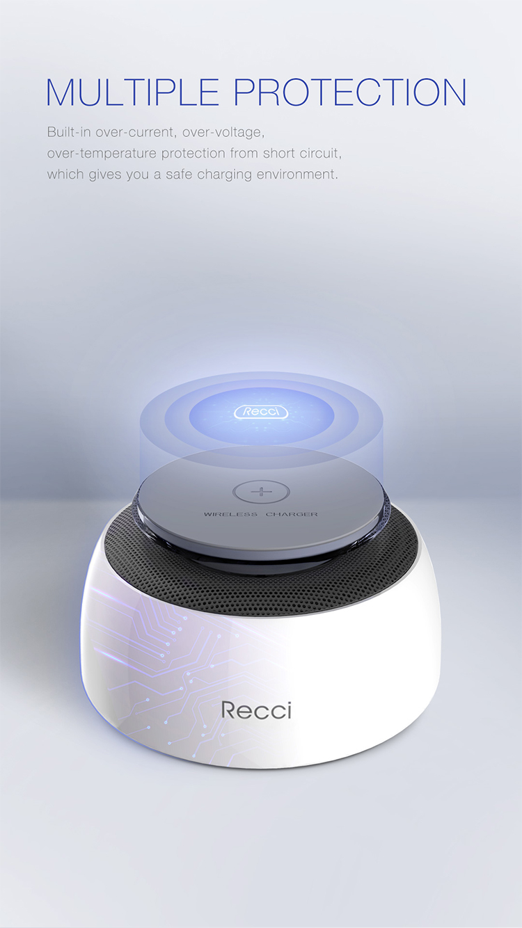Recci popular Navete series speaker with wireless charger pad for iPhone 8 or above