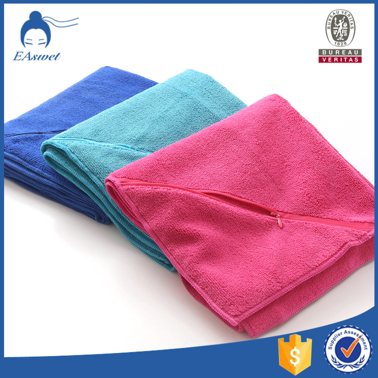 Custom Logo Workout Towels: Promotional Microfibre Beach/travel/gym Towel With Zipper