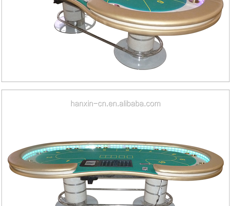 Texas Poker Table with Bean-shaped Table Top and LED Lights