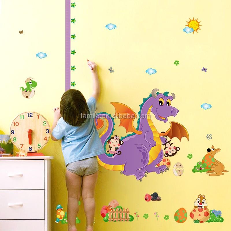 Kids Cartoon Dinosaur Height Chart Measure Kids Room Wall Art ...