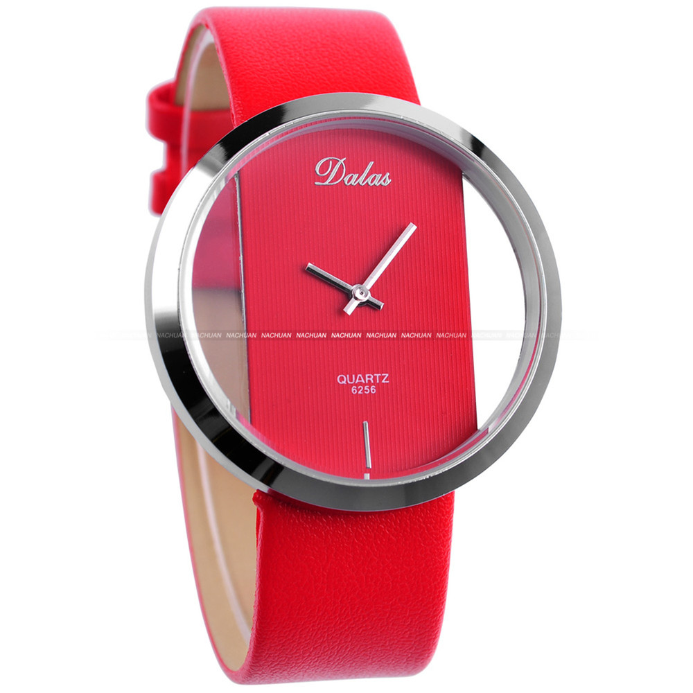 lady womens girls red leather band transparent quartz