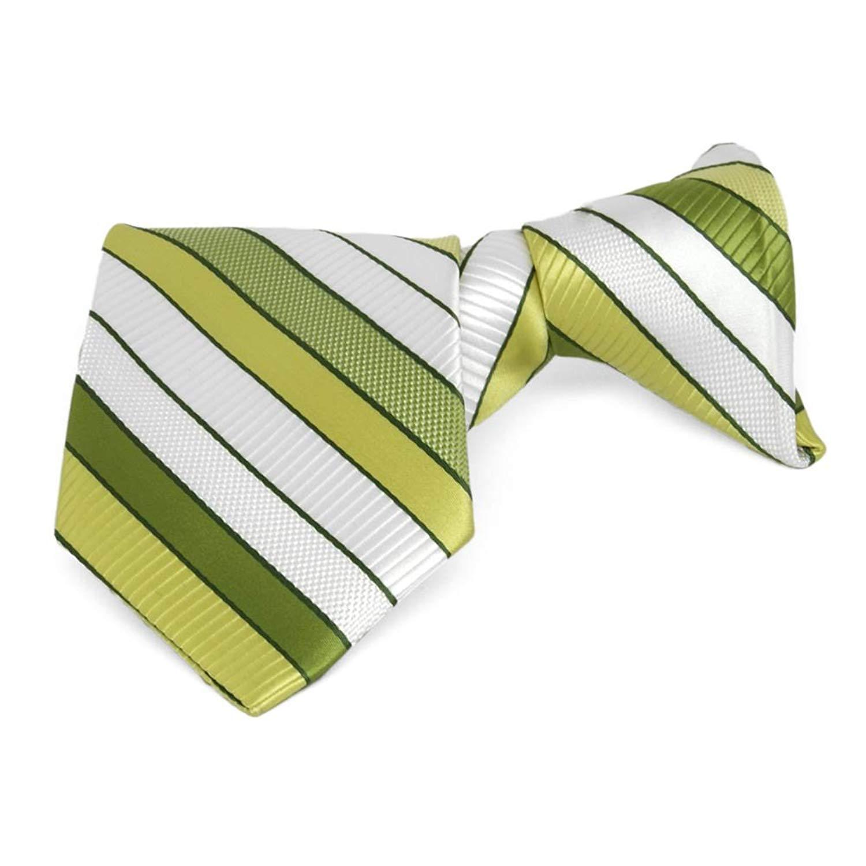 "TieMart Boys' Asparagus Green Douglas Stripe Clip-On Tie, 14"" Length"