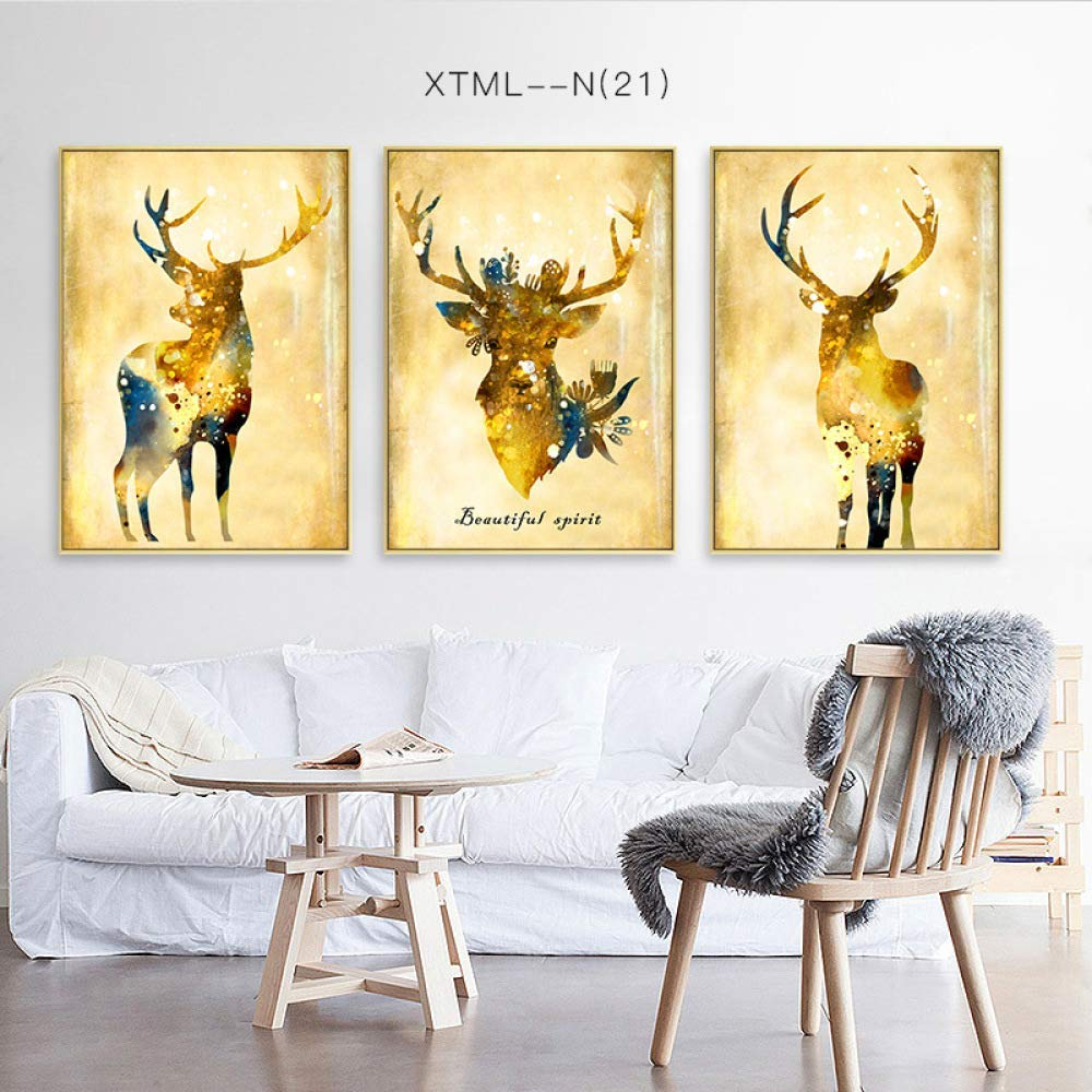 STTS Fortune deer decorative painting, Nordic modern animal print triptych, living room bedroom painting, inkjet mural