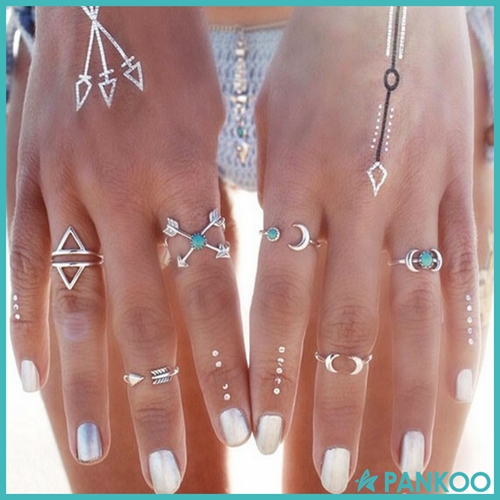 New Design 6PCS Vintage Moon Arrow Ring Set Ladies Anillos Silver Full Finger Ring Beach Jewelry Anel Knuckle Charm anelli