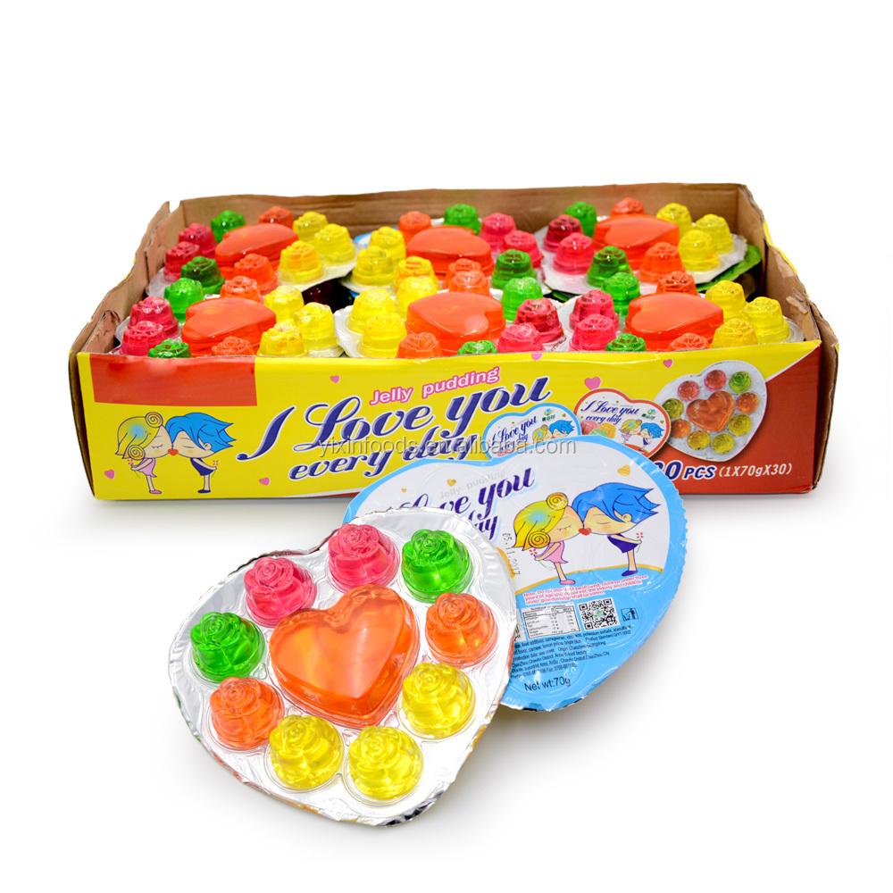 Halal rose fruit colorful heart shape jelly