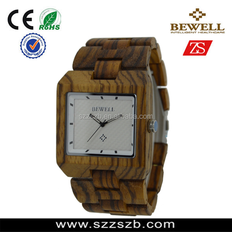 Bewell Natural Zebra Wood Watch Handmade Wood Craft
