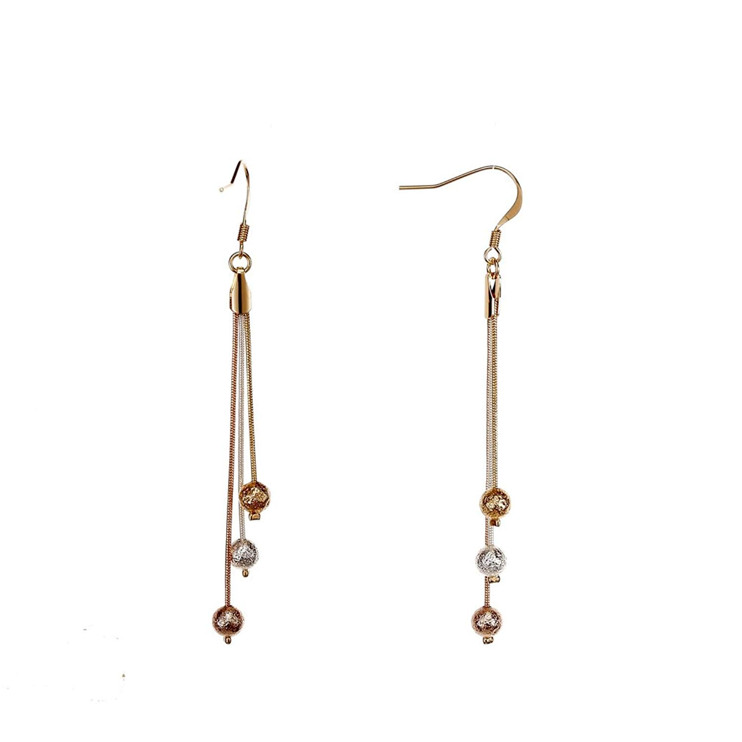 6b84b0cbf Get Quotations · CONIFERA Dangle Earrings with 3-Tone Snake Chain and Dull  Polished Beads for Women Girls
