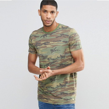 2016 Longline T-Shirt In Vintage Camo Green For Men