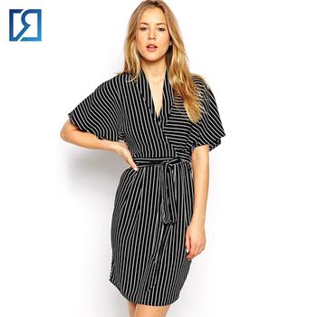 Oem Women\'s Short Sleeve Pinstripe Kimono Wrap Dress - Buy Multi ...