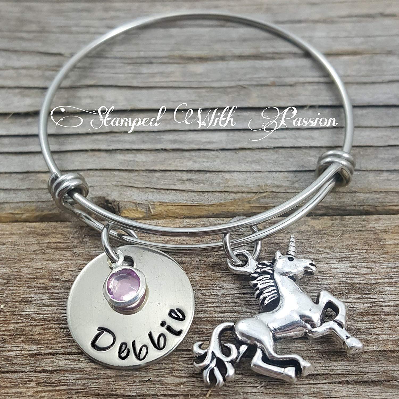 Unicorn Bracelet with name plate and birthstone - Daughter Bracelet, sister bracelet. little girl bracelet, grand daughter bracelet, Unicorn bangle