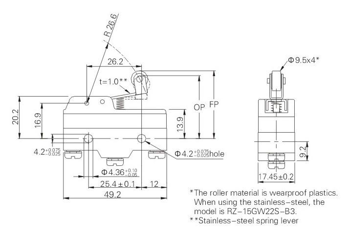 limit switch wiring diagram terminal 5 z 15gw22 b3 short hinge roller lever type micro switcht85  z 15gw22 b3 short hinge roller lever type micro switcht85