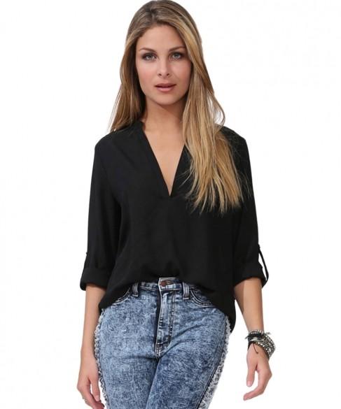 55f24d66124 Get Quotations · 2015 Rushed Camisa Feminina Blusas Fashion Women s Lades  Elegant Shirt Summer Sleeve Chiffon Deep V-