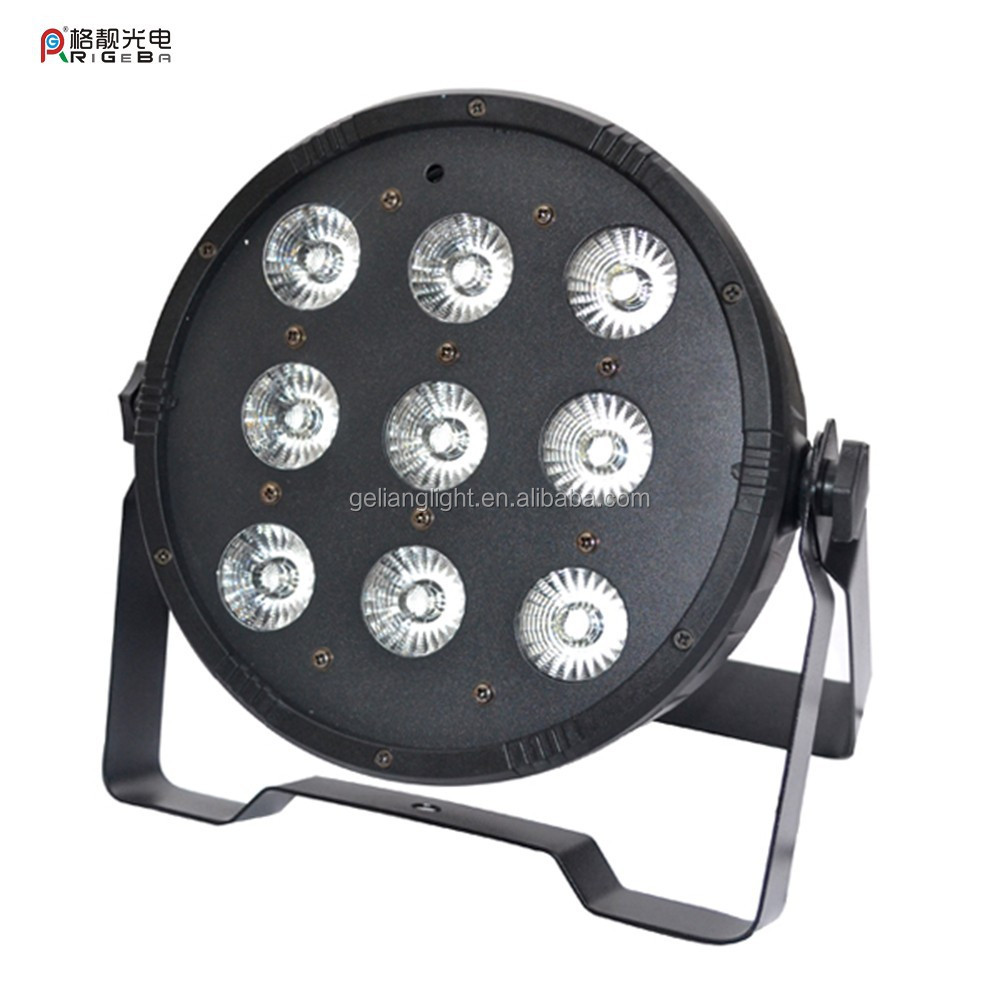 New LED Par 64 9* 10w 90w rgbw 4 in 1 dmx plastic stage mini flat par can light /flat par can