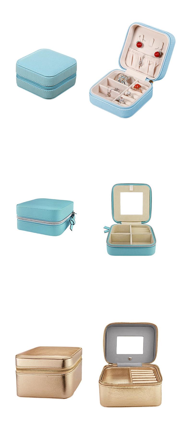 OEM Zipper Mirror Gift Jewelry Box Organizer Storage with Custom Logo for Travel