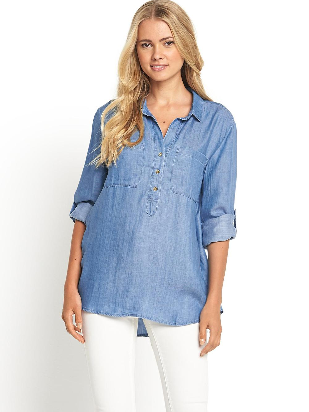 soft touch denim women long sleeve shirt buy women long