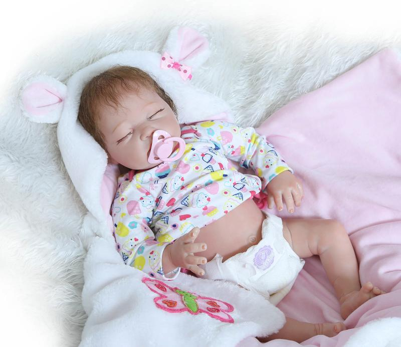 22Inch Silicone Vinyl Reborn Baby Dolls Newborn Toddler Sleeping Girl Doll Toys