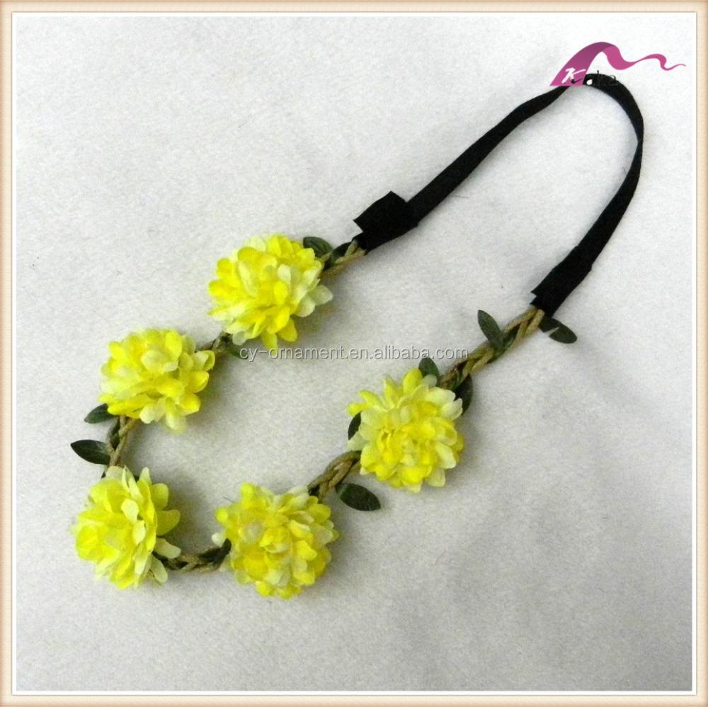 Star Yellow Flower Crown Headbandfashion Women Elastic Hairband