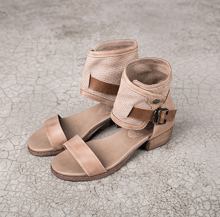 2018 new design grey tan burnished waxy cow leather heel sandals women shoes summer