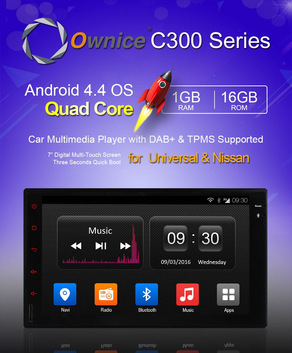 Ownice Android 4.4 quad core Car DVD Radio for nissan double universal support DVR TV 3G DONGLE Phonebook TPMS