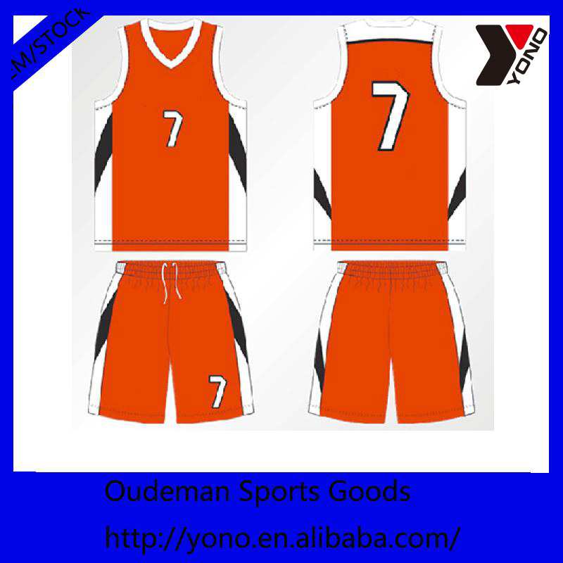 Simple Design Sublimated Basketball Jersey With Color Orange View