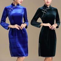 2016 Winter chinese traditional elegant plain velvet cheongsam dresses for women