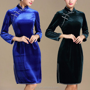 2016 Winter chinese traditional elegant plain velvet cheongsam dresses for women