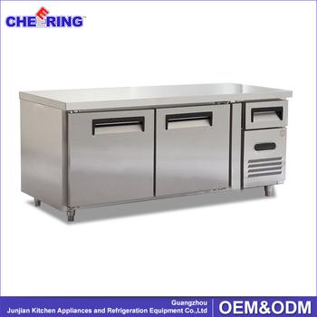 plan de travail en acier inoxydable commercial r frig rateur avec 2 portes pour cuisine. Black Bedroom Furniture Sets. Home Design Ideas