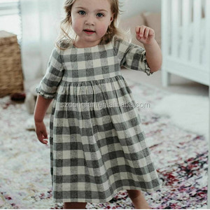 Grey/Cream Check Linen Dress Light Weight Linen Blend Summer Kids Party Dresses