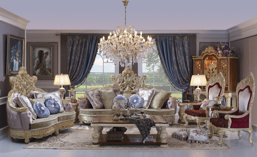 baroque style living room sofa set wood carving living room furniture whole set palace - Whole Living Room Furniture Sets