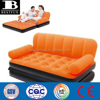 7cea1c82c0b Inflatable air bed mattress chair single double flocked folding chaise  lounge sofa spare couch bed with