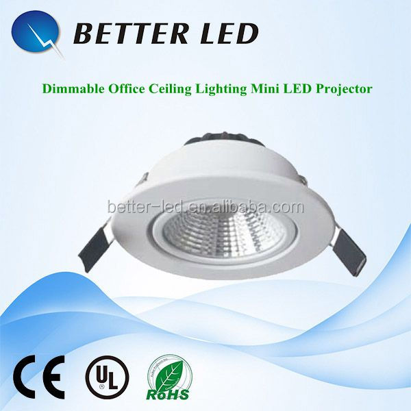 Made in China high efficient 3w 5w 7w 10w 15w dimmable office ceiling lighting mini led projector with 3 year warranty
