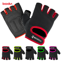 custom silicone grip fitness gloves fingerless weight lifting gloves with anti slip palm pads