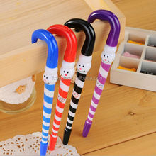Candy cane shape cheap decorative ball pens for Christmas